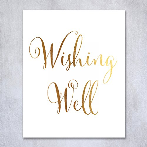 Wishing Well Gold Foil Print Gifts Table Sign Wedding Reception Signage Poster Decor Calligraphy Honeymoon Keepsake Bride Groom