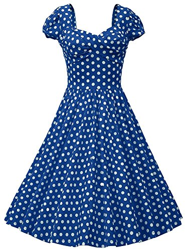 MUXXN Women Vintage Polka Dot Cocktail Swing Dress (S, Blue)