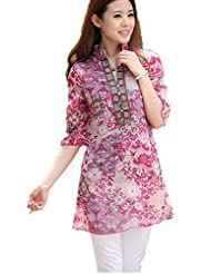 Women's Casual Long Sleeve Embroidery Lace Crochet Chiffon Tops Blouse