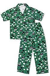 GreenApple Girls Organic Cotton Farm Print Pyjama Set (FVGA021, Green, 3-4 Years)