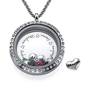 amazoncom engraved floating charms locket for mom or