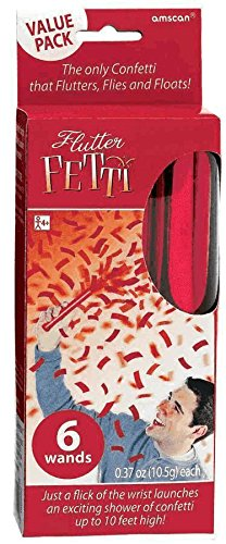 "Amscan Raging Flutter Fetti Wands Value Pack (6 Count), 6"", Red"