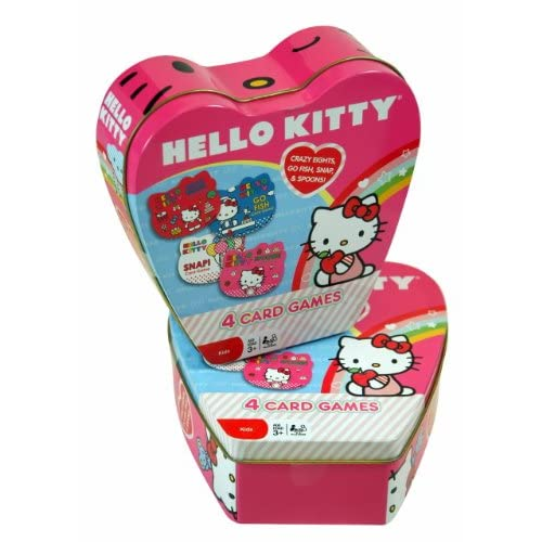 Christmas Gift   Sanrio Hello Kitty 4 Card Game in Heart Shape Tin Box