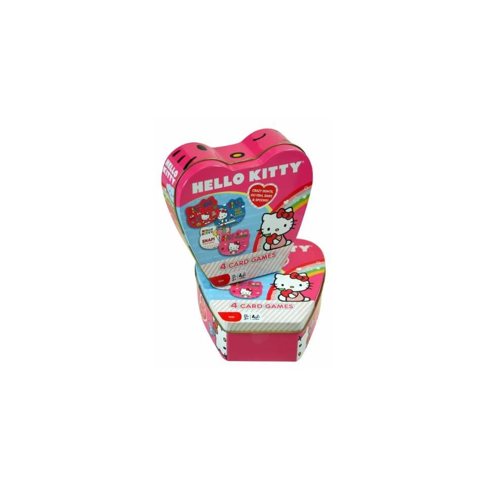 Christmas Gift   Sanrio Hello Kitty 4 Card Game in Heart Shape Tin Box