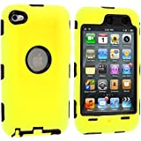 Yellow Deluxe Hybrid Premium Rugged Hard Soft Case Skin Cover for iPod Touch 4th Generation 4G 4