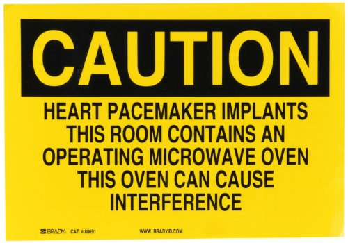 """Brady 88691 Self Sticking Polyester Radiation & Laser Sign, 7"""" X 10"""", Legend """"Heart Pacemaker Implants This Room Contains An Operating Microwave Oven This Oven Can Cause Interference"""""""