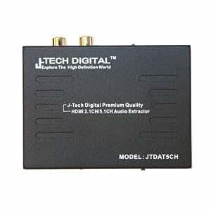 J-Tech Digital ® Premium Quality 1080P HDMI To HDMI + Audio (SPDIF + RCA Stereo) Audio Extractor Converter (Support Apple TV 4 Gen)