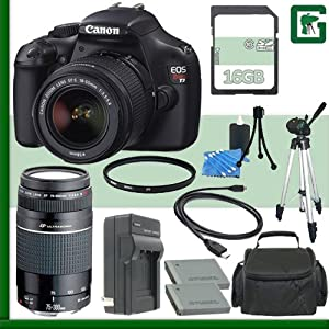Canon EOS Rebel T3 Digital SLR Camera Kit with 18-55mm IS II Lens and Canon 75-300mm III USM Lens + 16GB Green's Camera Package 1