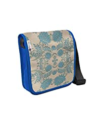 Atrangee Blue Flower Twine City Sling Bag