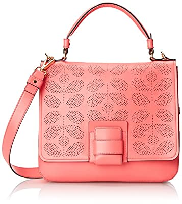 Orla Kiely Sixties Stem Punched Leather Ivy Bag from Orla Kiely