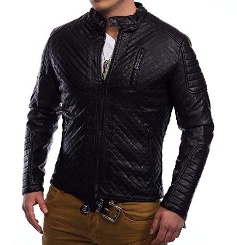 Uomini trapuntato giacca di pelle in fila biker Coby ID1315, Größe Jacke:S
