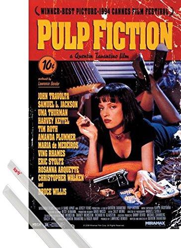 Poster + Sospensione : Pulp Fiction Poster Stampa (91x61 cm) Affisso, Quentin Tarantino E Coppia Di Barre Porta Poster Trasparente 1art1®
