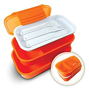 effiliv bento box lunch boxes food containers stackable orange kitchen dining. Black Bedroom Furniture Sets. Home Design Ideas
