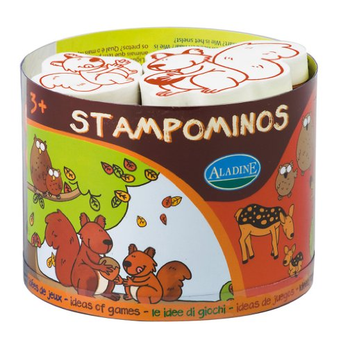 Aladine Stampominos, Animals of the Forest Themed Foam Stamps,  Set of 10 Plus 1 Extra Large Ink Pad