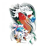 Waterproof And Non Toxic Halloween Tattoo Red Fish With Colorful Flower Is Swimming Fake Temp Tattoo Sticker
