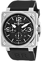 Bell & Ross Men's BR-01-94-STEEL Aviation Black Chronograph Dial Watch Watch