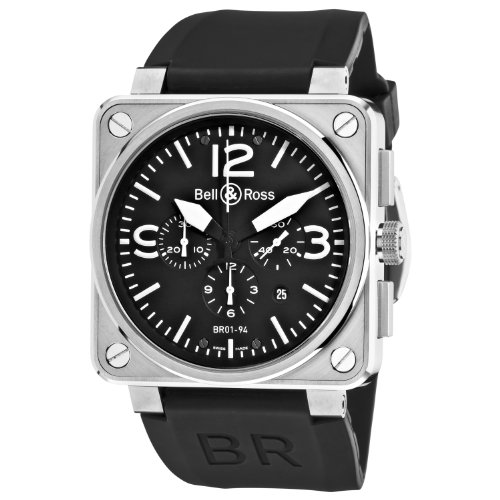 Bell & Ross Men's BR-01-94-STEEL Aviation Black Chronograph Dial Watch Watch