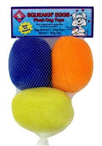Kyjen Squeaking Eggs Plush Dog Toys, 3-Pack
