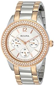Bulova Watches Ladies Crystal Rose Multi Dial Bracelet Watch