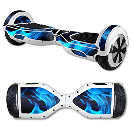 MightySkins Protective Vinyl Skin Decal for Self Balancing Board Scooter mini hover 2 wheel x1 razor wrap cover sticker Blue Flames (Skin Industries Decal compare prices)