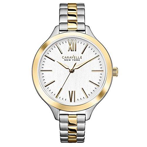 Caravelle New York 45L139 - Reloj analógico de cuarzo para mujeres, correa de acero inoxidable, color plateado y dorado
