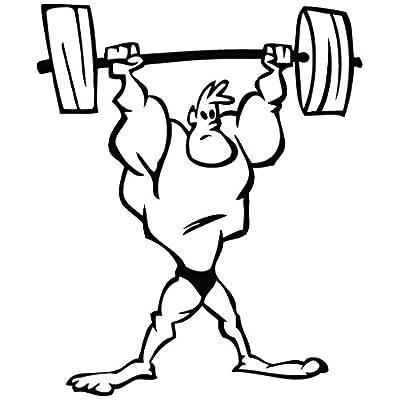 amazon   sport weight lifter   cartoon decal vinyl car wall laptop