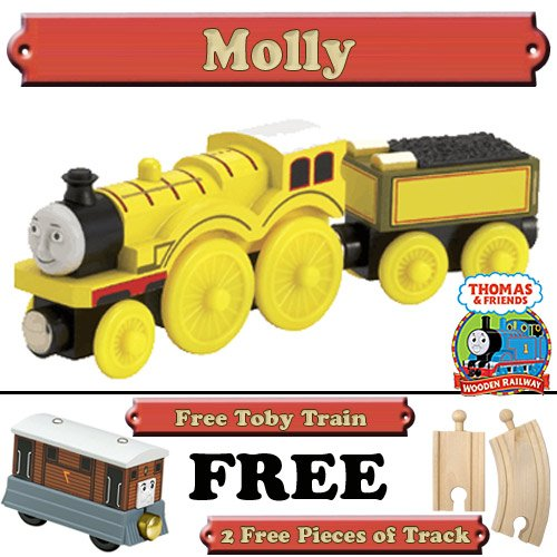 Molly from Thomas The Tank Engine Wooden Train Set - Free 2 Pieces of Track & Free Toby Train