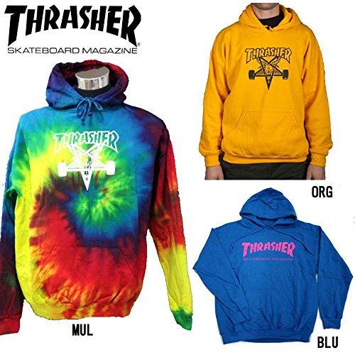 【THRASHER】スラッシャー メンズ長袖パーカー プルオーバーパーカー/M・L・XL/マルチ・オレンジ・ブルー ORG M