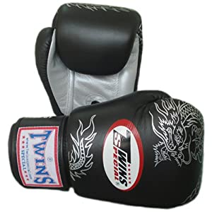 Buy Twins Special Muay Thai Boxing Gloves FBGV-6S-BK Black Silver Dragon 8-10-12-14-16 Oz. by Twins Special