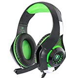 BlueFire® 3.5mm Gaming Headset with Microphone and Volume Control,Wired Over Ear LED Light Stereo Heaphones for PlayStation 4 PS4, Xbox one,PC (Green in Black)
