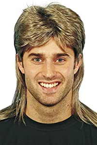 Smiffy's Men's Mullet Wig Highlights, Brown, One Size