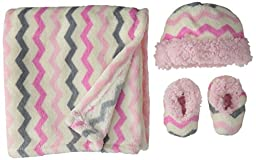 Lovespun Baby Squiggle Print 3 Piece Blanket Set, Pink, One Size
