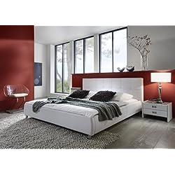 SAM® Polsterbett Zarah weiß 180x200 cm, Bett mit chrom-farbenen Füßen, Kopfteil modern im abgesteppten Design, Doppelbett auch als Wasserbett geeignet