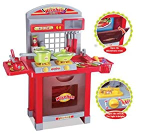 Childrens toy kitchen set hob lights up and makes cooking for Kitchen set toys amazon