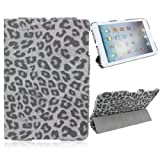 Generic Fashion Solid Leopard PU Leather Flip Case Cover with 3 Fold Stand for Apple iPad Mini Smart Tablet PC -Grey