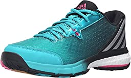 adidas Performance Women\'s Energy Volley Boost 2.0 W Volleyball Shoe, Shock Green/Matte Silver/Shock Pink, 7.5 M US