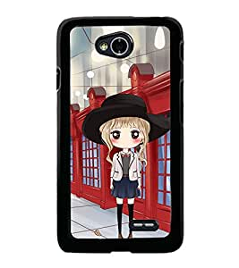 Fuson Premium 2D Back Case Cover Cute office Girl With Pink Background Degined For LG L70
