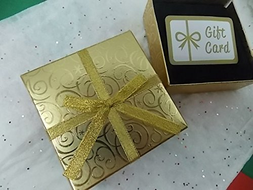 Gift Card Holder Box w/ Bow 4.25 X 4.25 - Velvety Insert for Your Giftcard (Gold) (Lids Gift Cards Store compare prices)