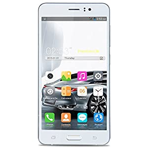 New Release] PADGENE® N92 Unlocked 3G Mobile Phone, 5.5 inch IPS Screen(1280*720) Android 5.1 Smartphone----MTK6580 Quad Core 1.3GHz 1GB RAM 8 GB ROM,Dual SIM(Dual Standby)Dual Cmaera(2.0M/8.0M),Support Air Distance Gesture Smart Wake,GPS SIM-Free 2G/3G Smartphone Phablet (Silver)