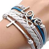 TWINKLE Bracelet Vintage Silver Infinite Bracelet Love White Blue Leather Rope Cross Infinity (2)