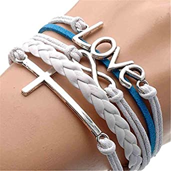 Vintage Silver Infinite Bracelet Love White Blue Leather Rope Cross Infinity (2)