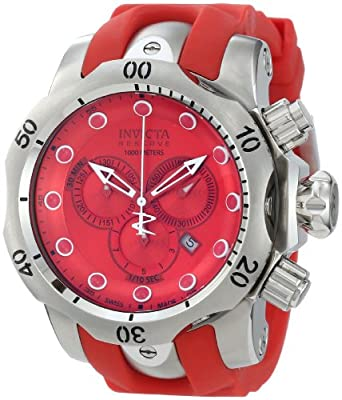 Invicta Men's 1403 Venom Reserve Chronograph Red Dial Red Polyurethane Watch