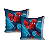"Disney Marvel Spider Man 2 Piece Satin Polyester Cushion Cover Set - 16""x16"", Blue"