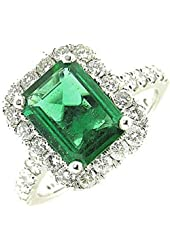 2.75 Ct White Gold Hay Low Emerald & Diamond Ring 14 Kt