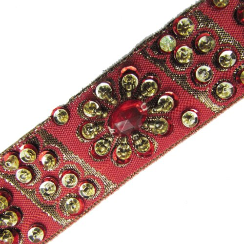Red Hand Bead Sequin Stone Ribbon Trim Lace Craft 1 Yd