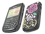 ITALKonline FunkGem BLACK PINK ROSE BLACK Diamonte Crystals Super Hydro Gel Protective Armour/Case/Skin/Cover/Shell for BlackBerry 8520 Curve