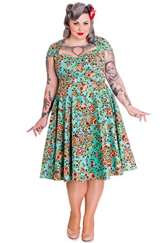 Hell Bunny Plus Calavera Day of the Dead Flower Sugar Skull Flare Party Dress