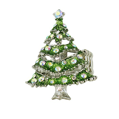 Sparkling Christmas Tree Ring With Stretchy Band