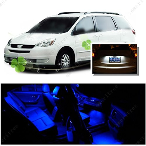 Ameritree Blue Led Lights Interior Package + White Led License Plate Kit For Toyota Sienna 2004-2010 (13 Pieces)