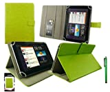 Emartbuy® Green Stylus + Universal Range ( 8 - 9 Inch ) Green Multi Angle Executive Folio Wallet Case Cover With Card Slots Suitable for Argos Bush MyTablet2 8 Inch